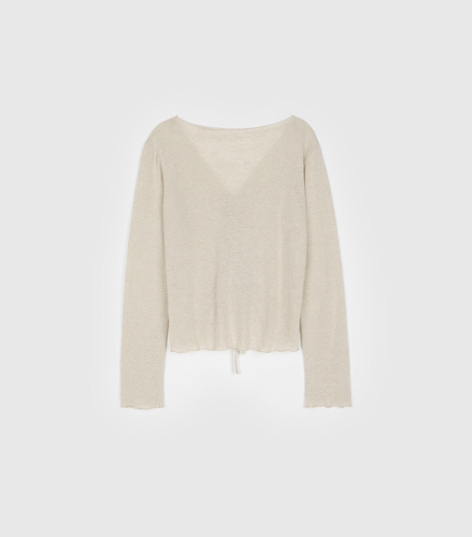 Natural Shirring Linen V Neck T-Shirt