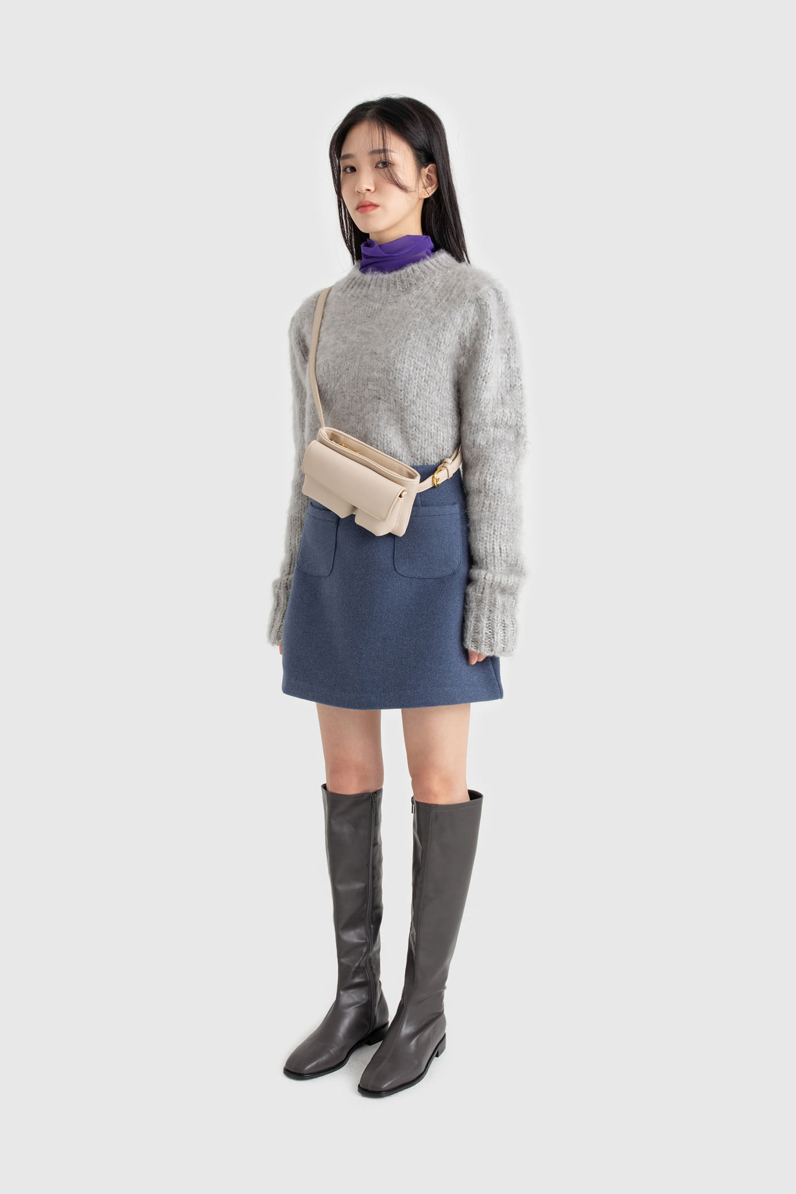 Two pocket wool mini skirt