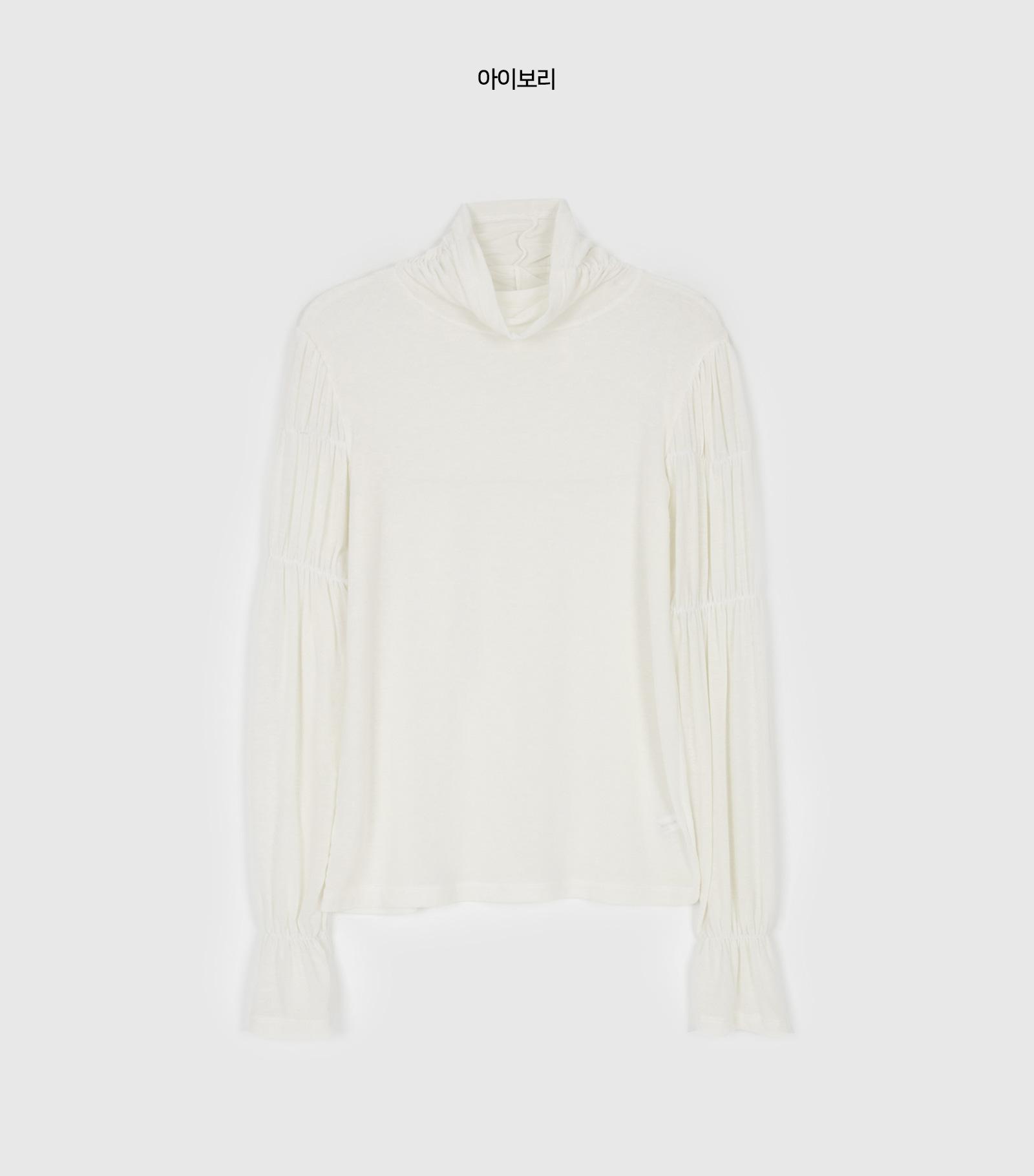 Shirring Tencel Turtleneck T-Shirt