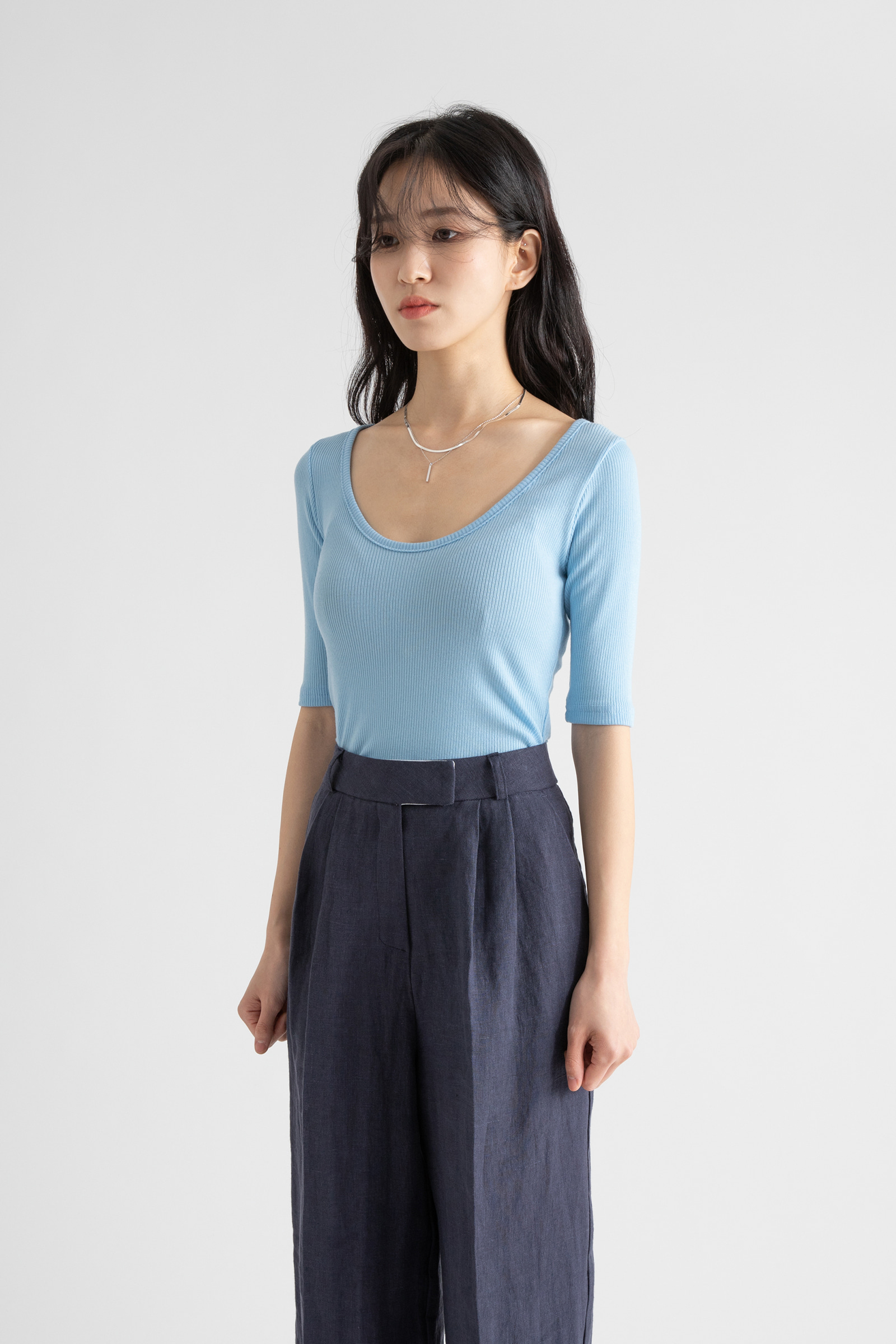 Slim Tencel Ribbed Wide Round Neck T-Shirt