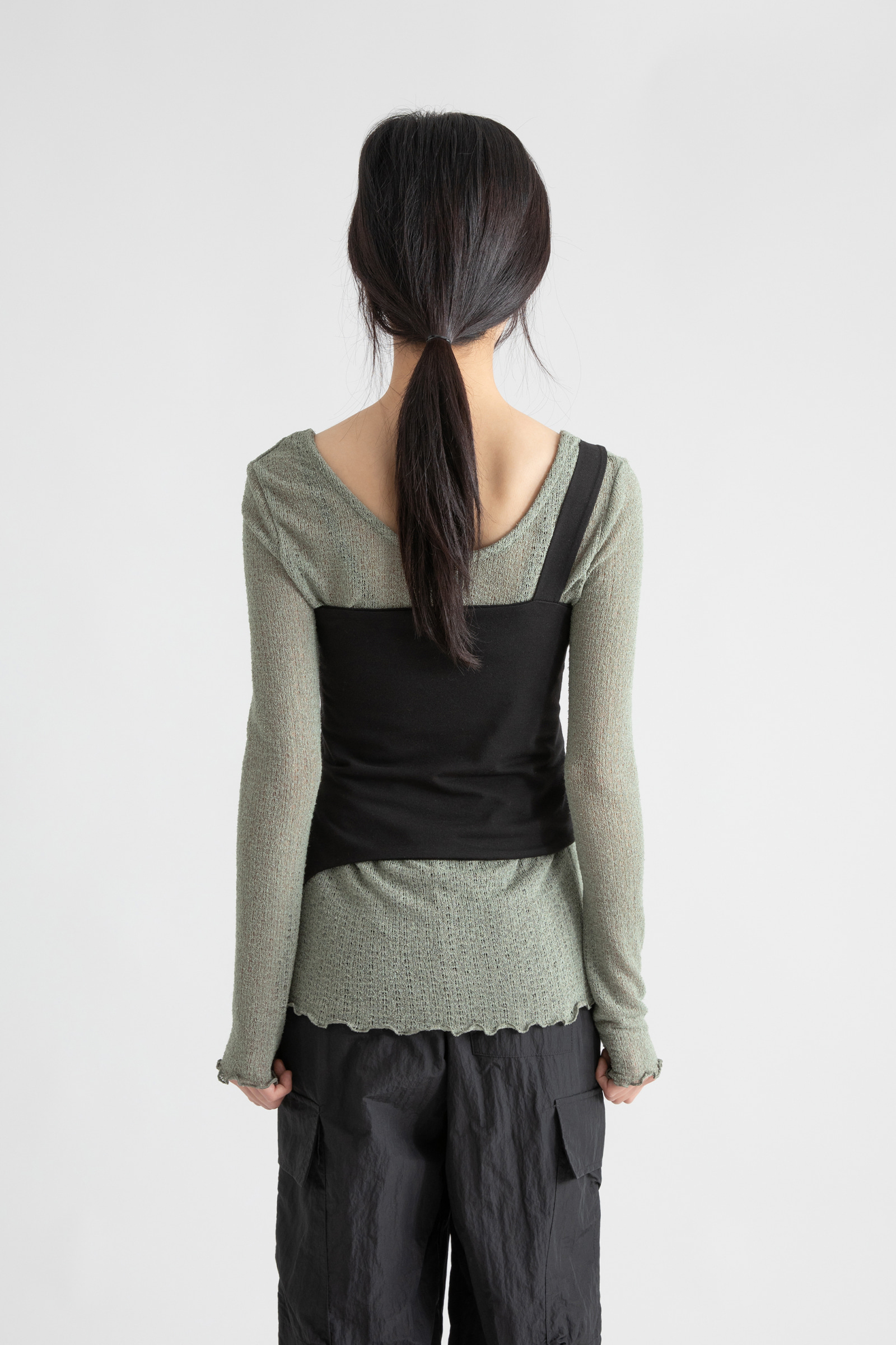 Buckle One Shoulder Layered Top