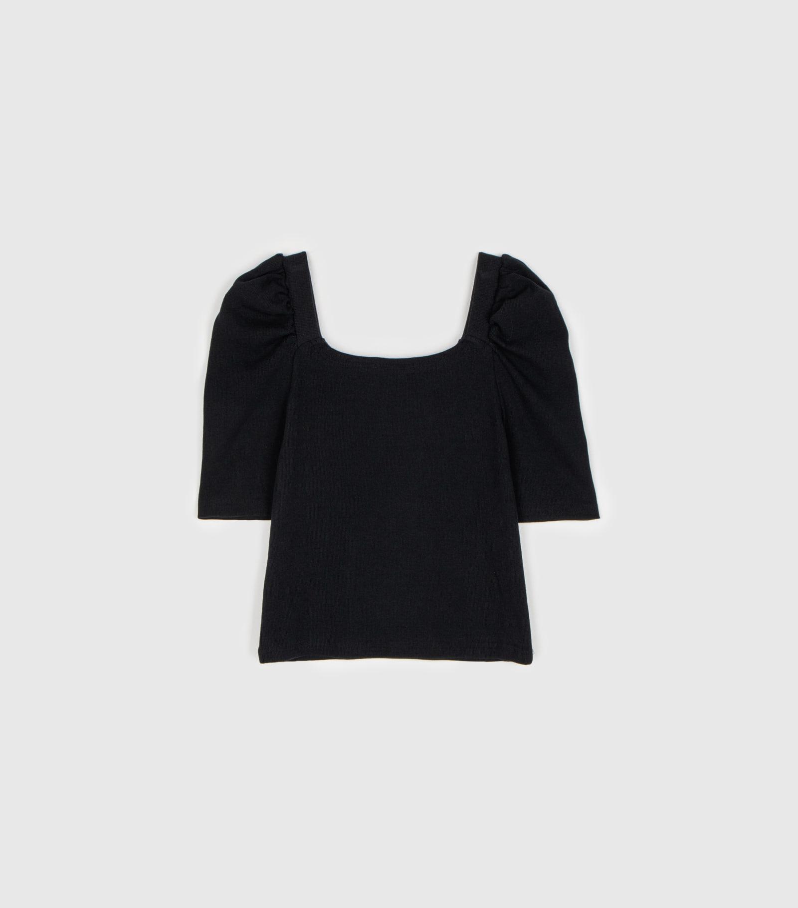 Mood Puff Ribbed Square Neck T-Shirt