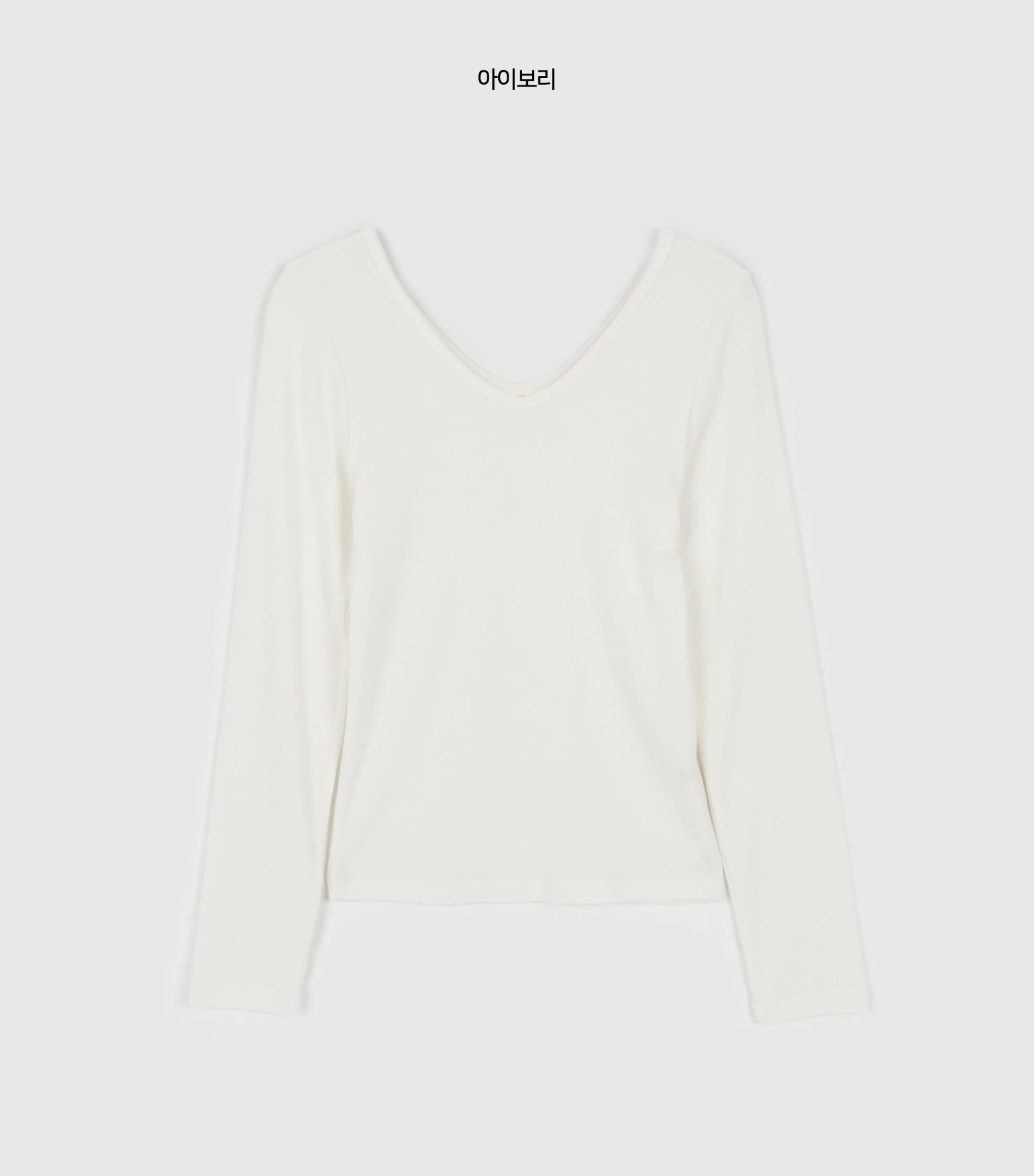 Slim Wool Tencel V-neck T-shirt