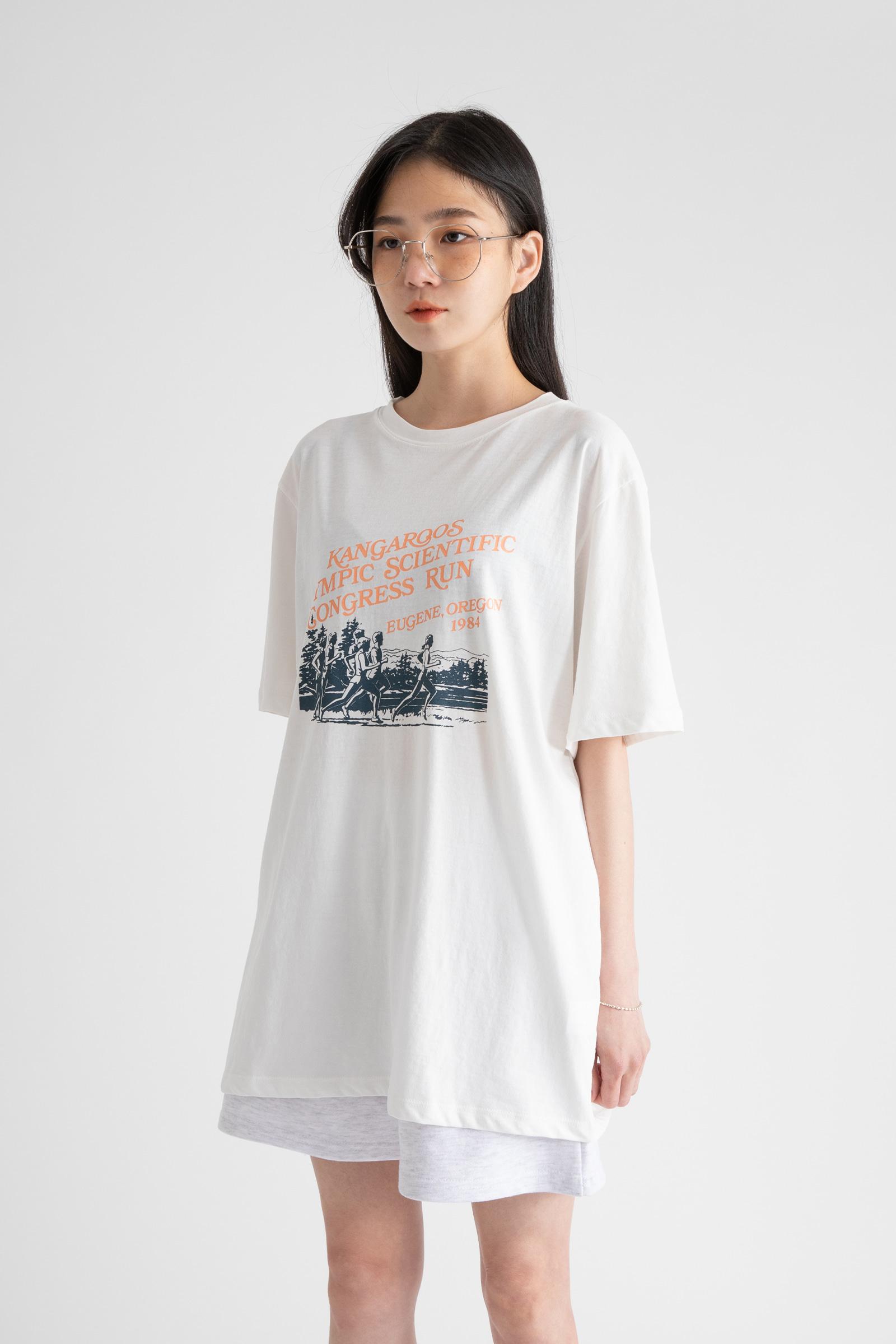 Running printing half round neck t-shirt