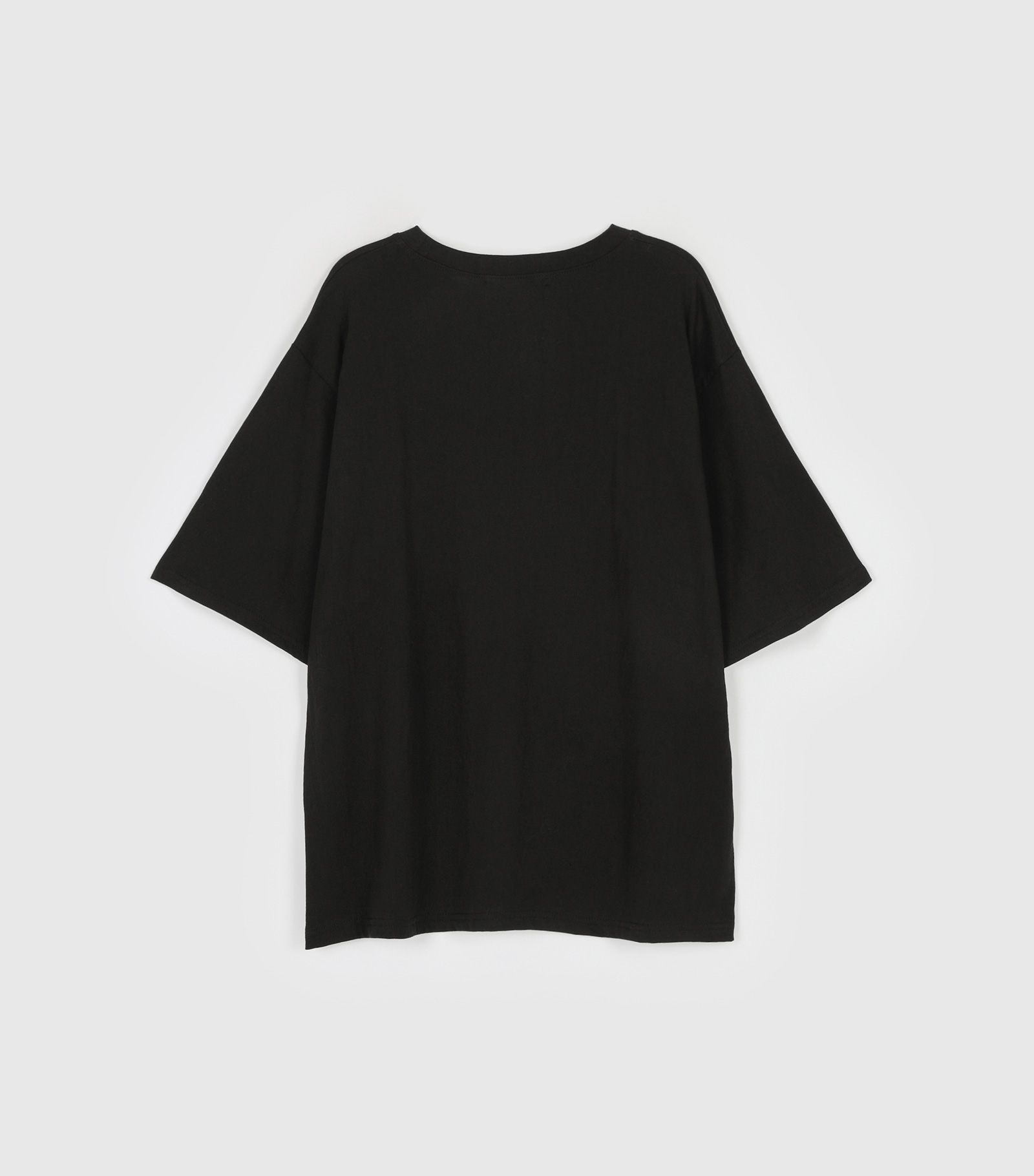 Space printing half over round neck t-shirt
