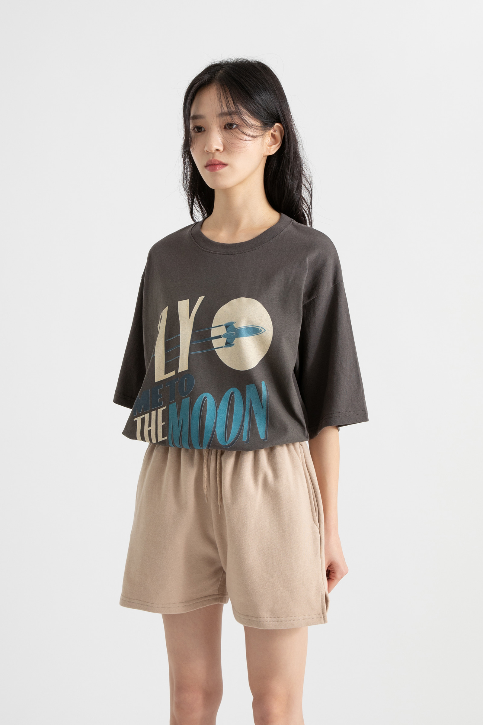 Flying printing round neck T-shirt
