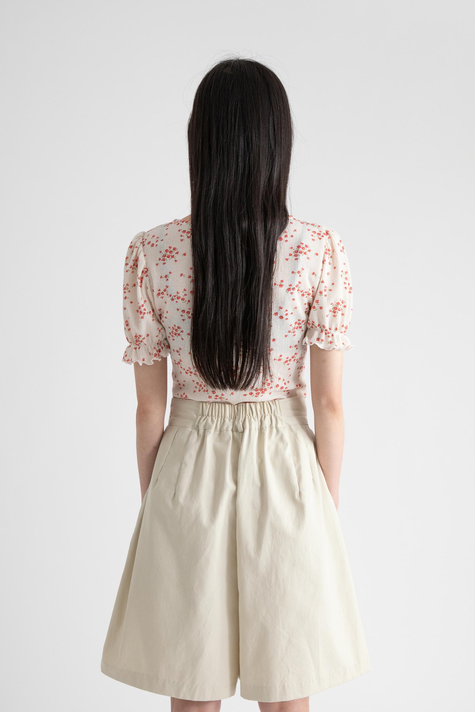 Rose Shirring Ribbed T-Shirt