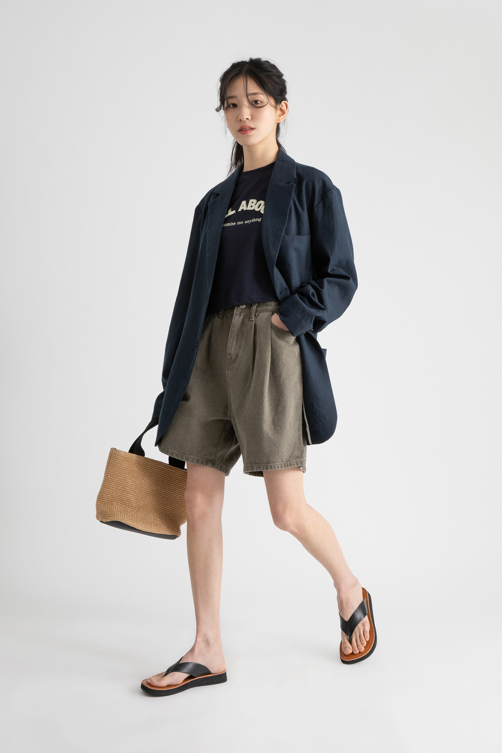 Mud pintuck wide cotton shorts