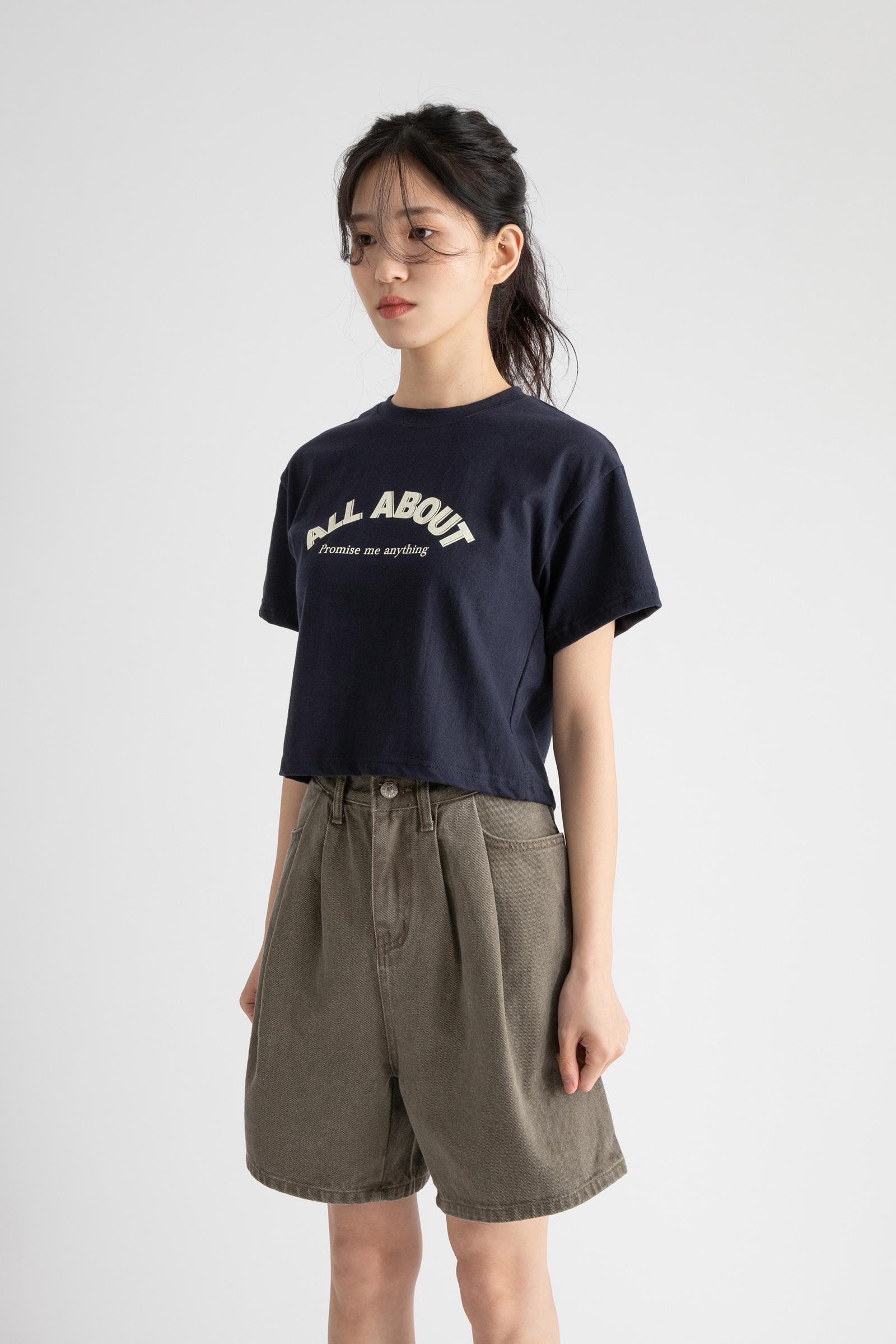 About Printing Crop Half Round Neck T-Shirt