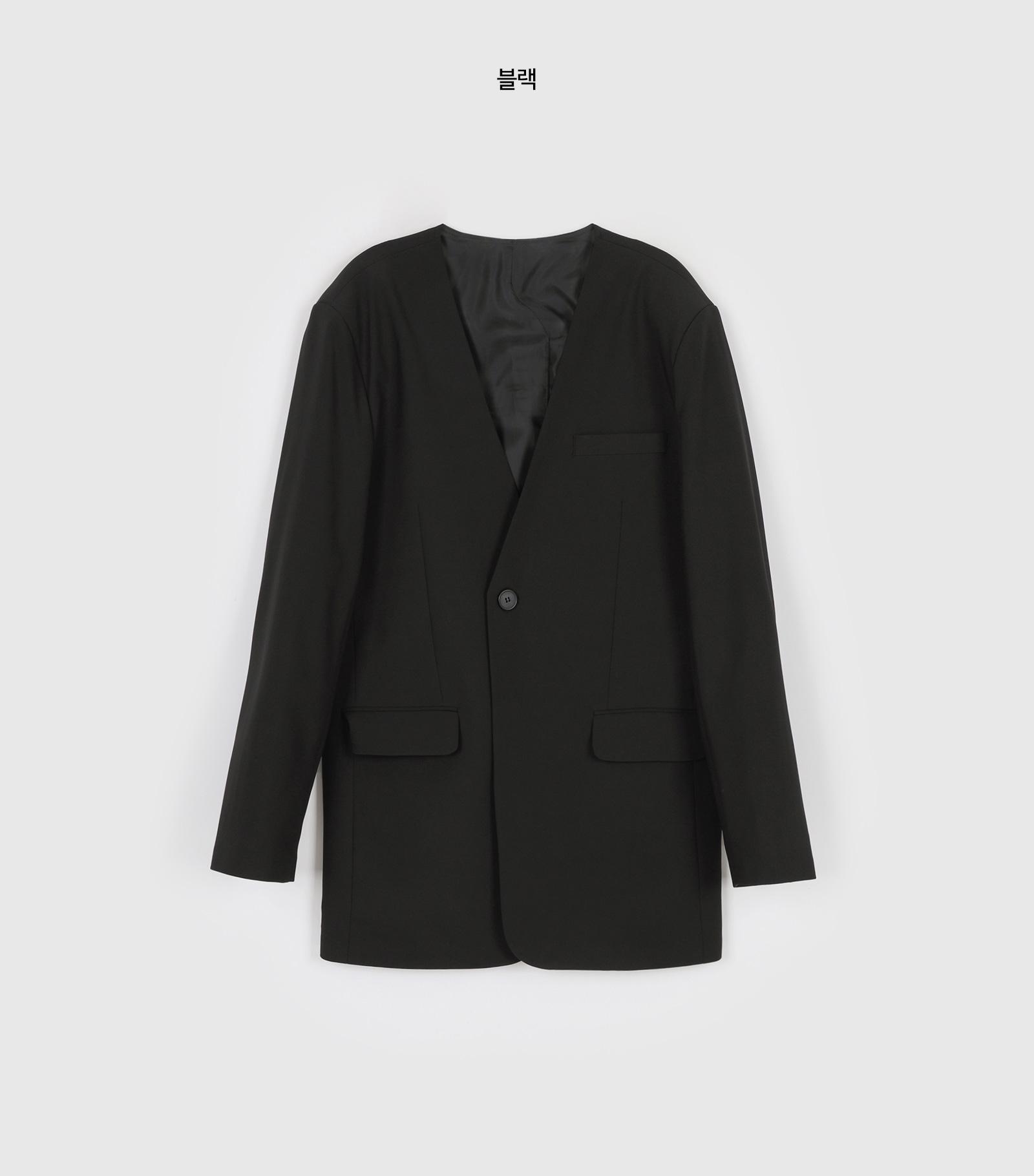 Back button collarless unisex single jacket