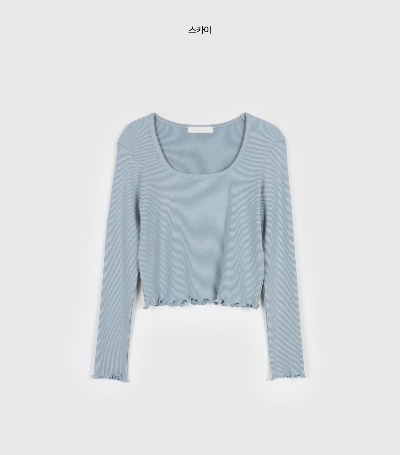 Rose Curve Tencel Square Neck T-Shirt