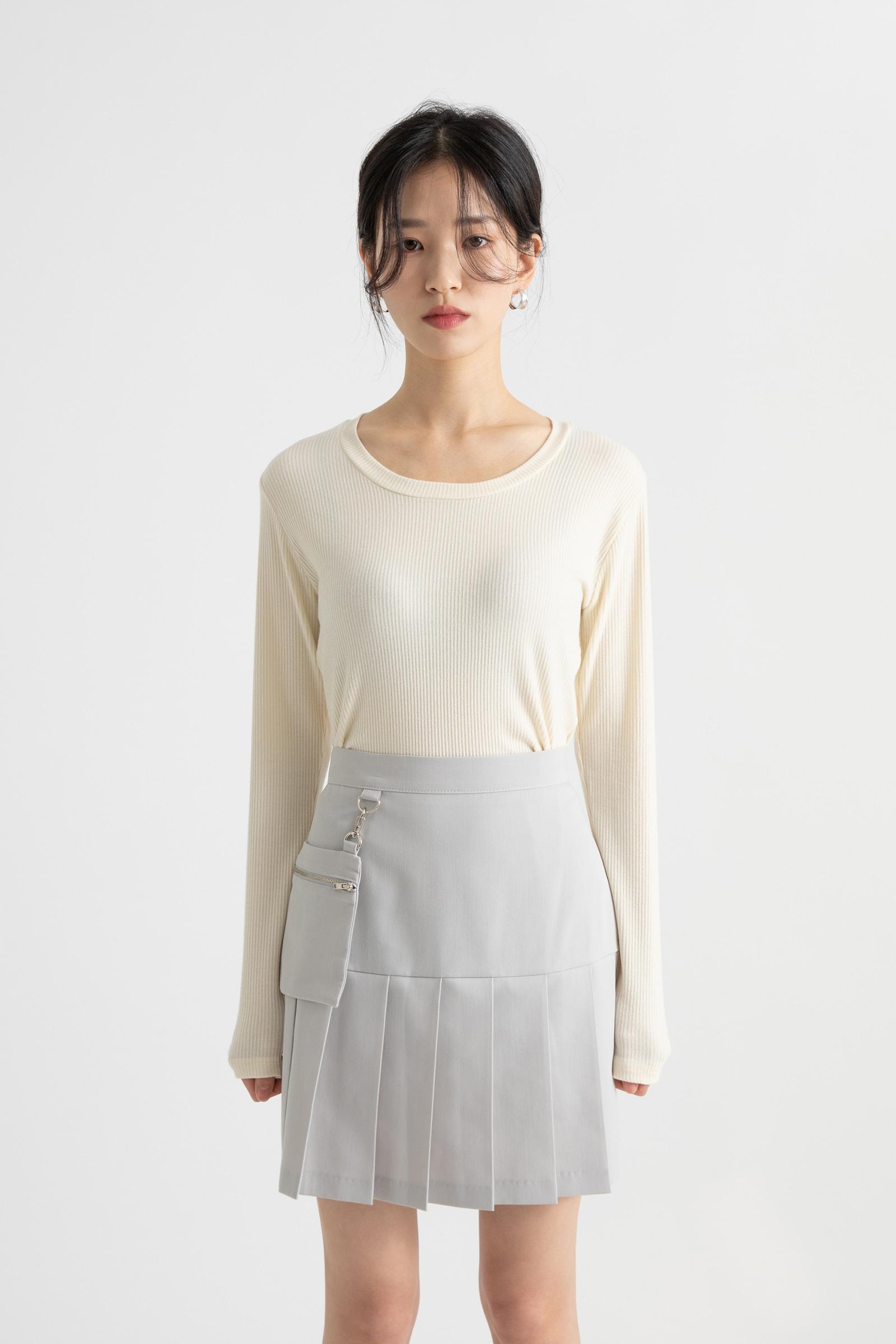 Anjou button modal ribbed round-neck T-shirt