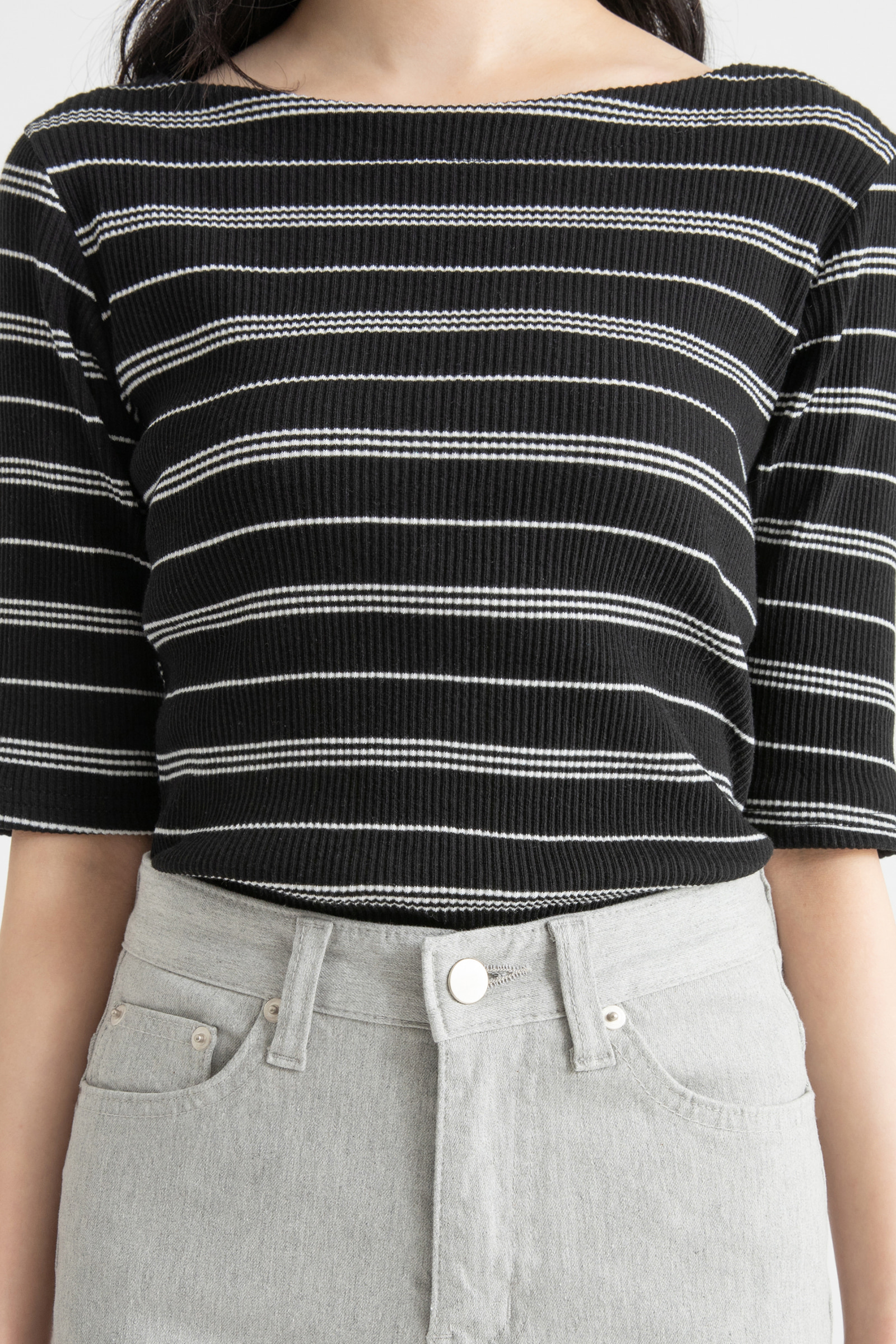 Striped ribbed boat-neck T-shirt