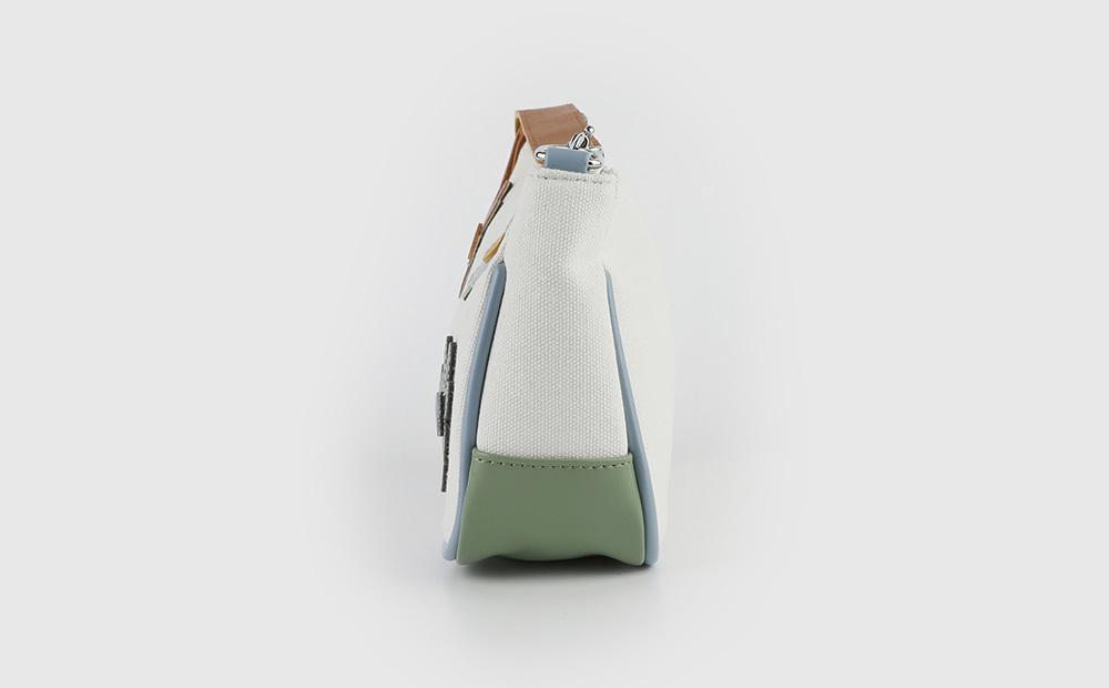 Flower stitch cotton saddle shoulder bag