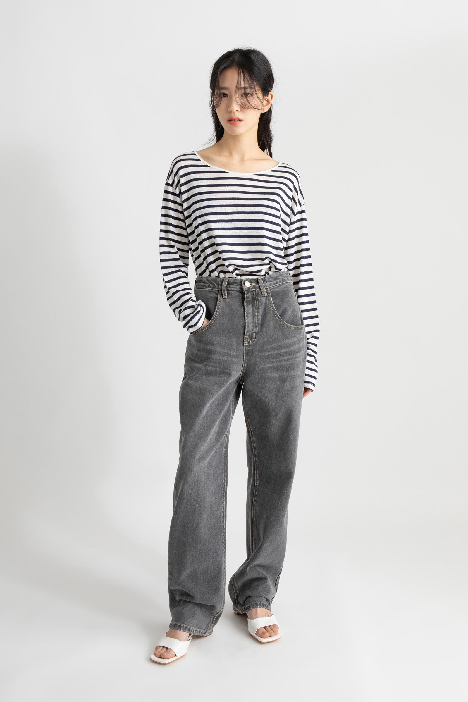 Striped linen round neck T-shirt