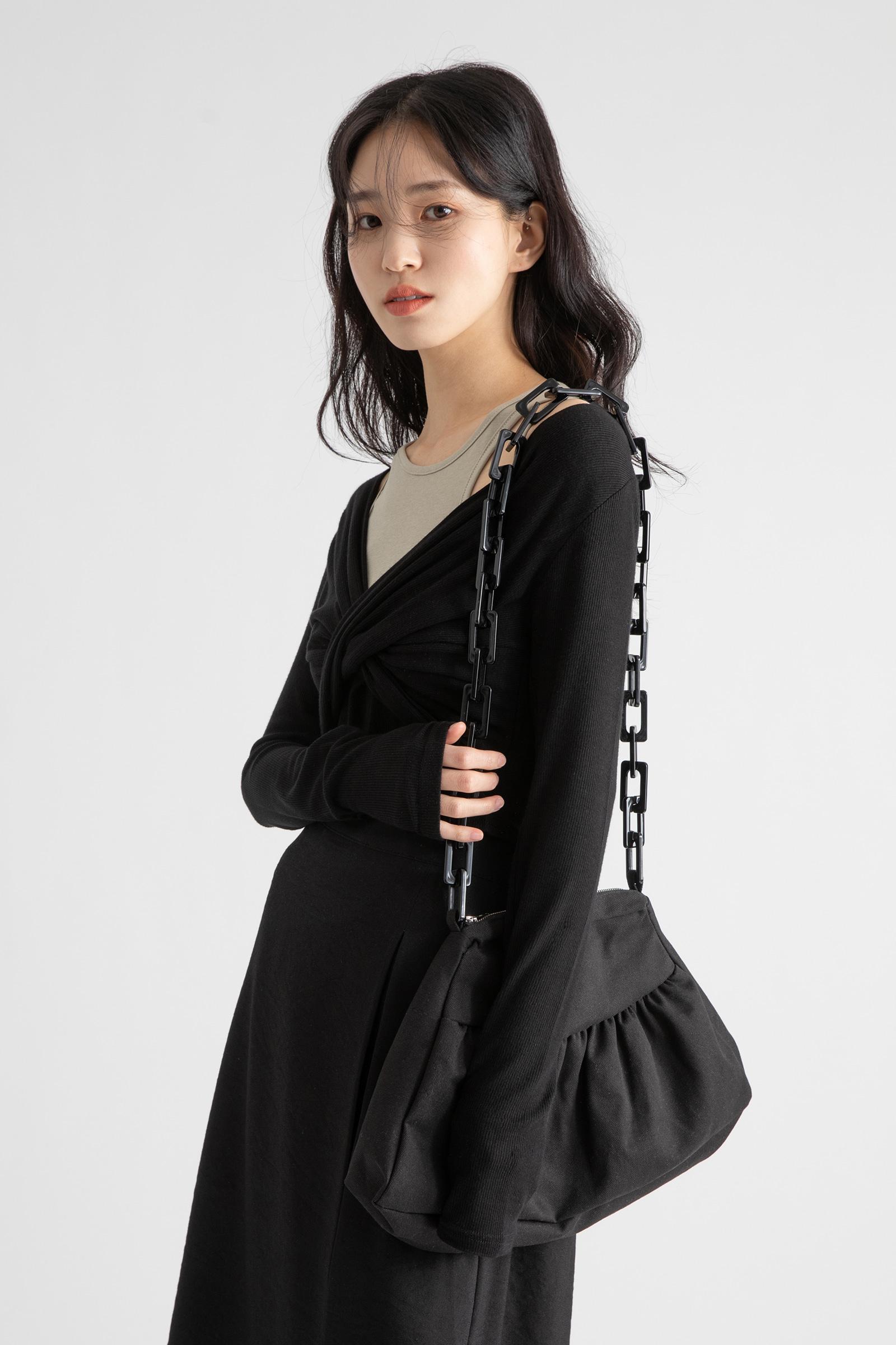 Marbling Homica strap cotton cross shoulder bag