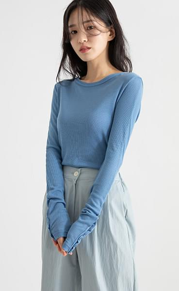 Hey Button Ribbed Tencel Round Neck T-Shirt