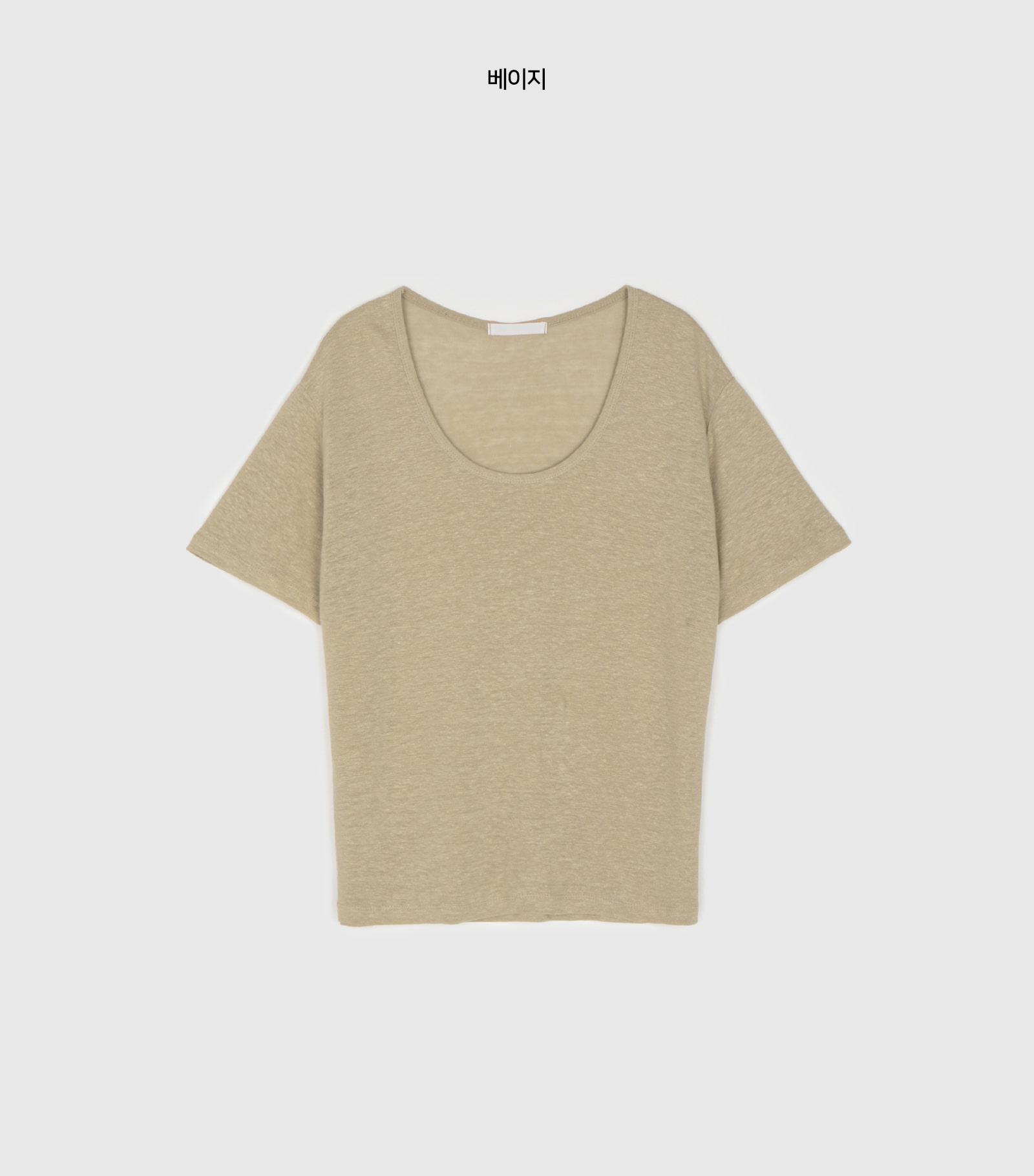 Basic linen round neck T-shirt