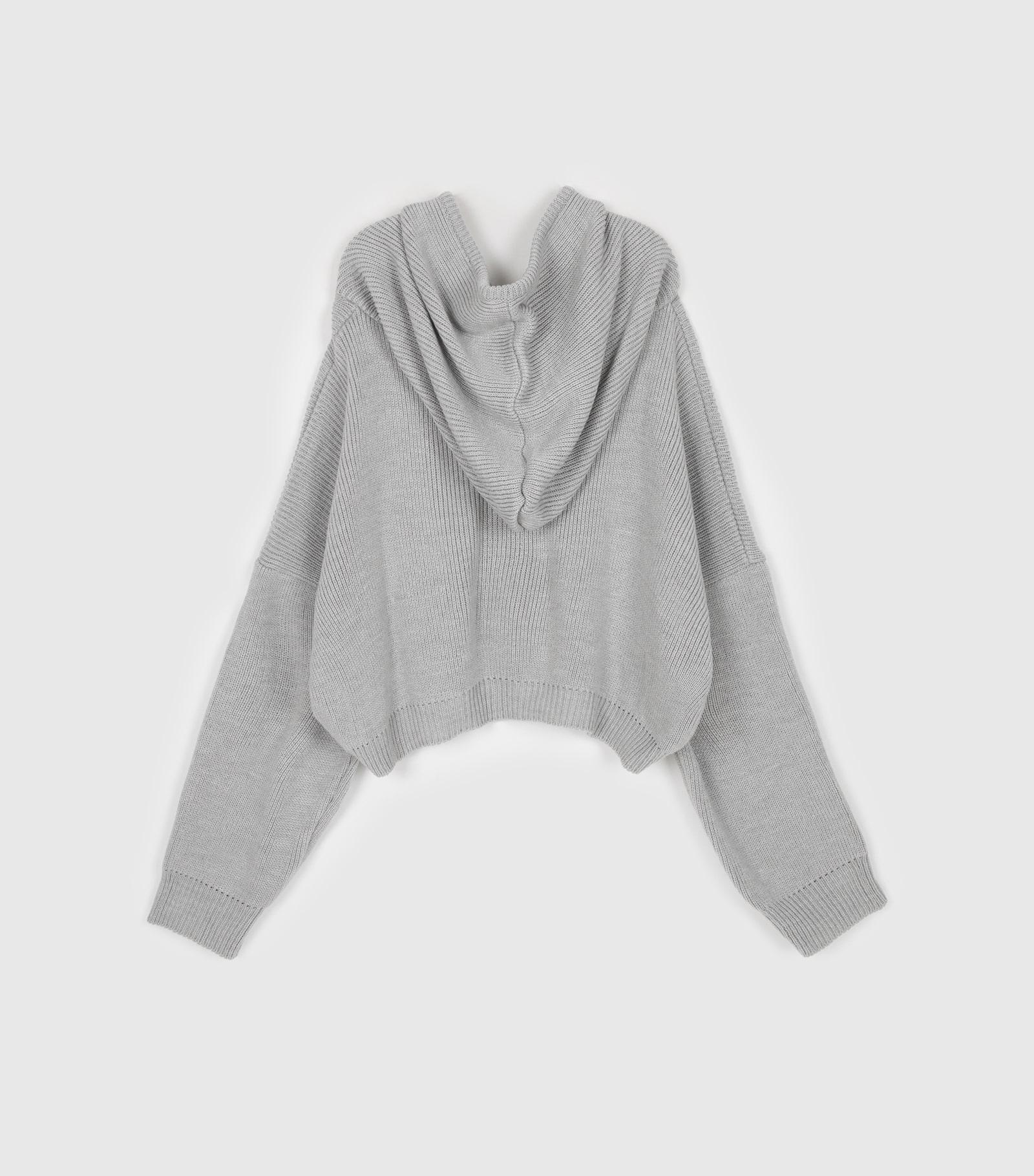 Loose hooded knit zip-up sweatshirt
