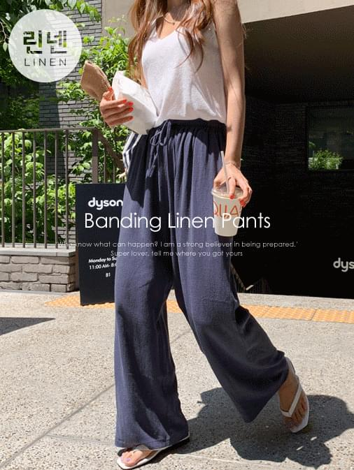 Classic linen banding wide long pants