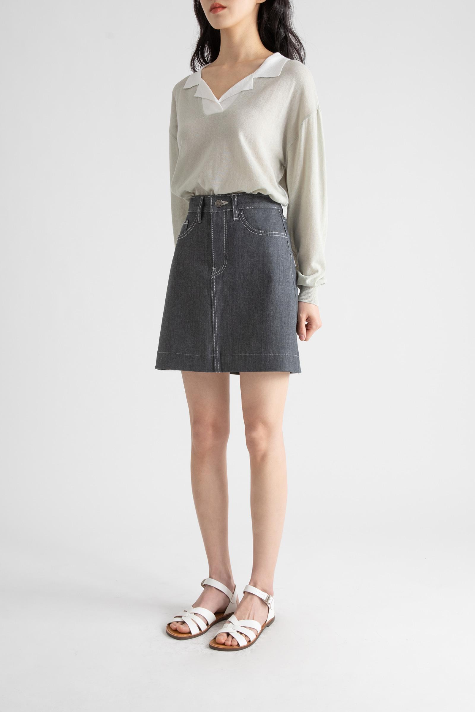 Daily gray denim mini skirt