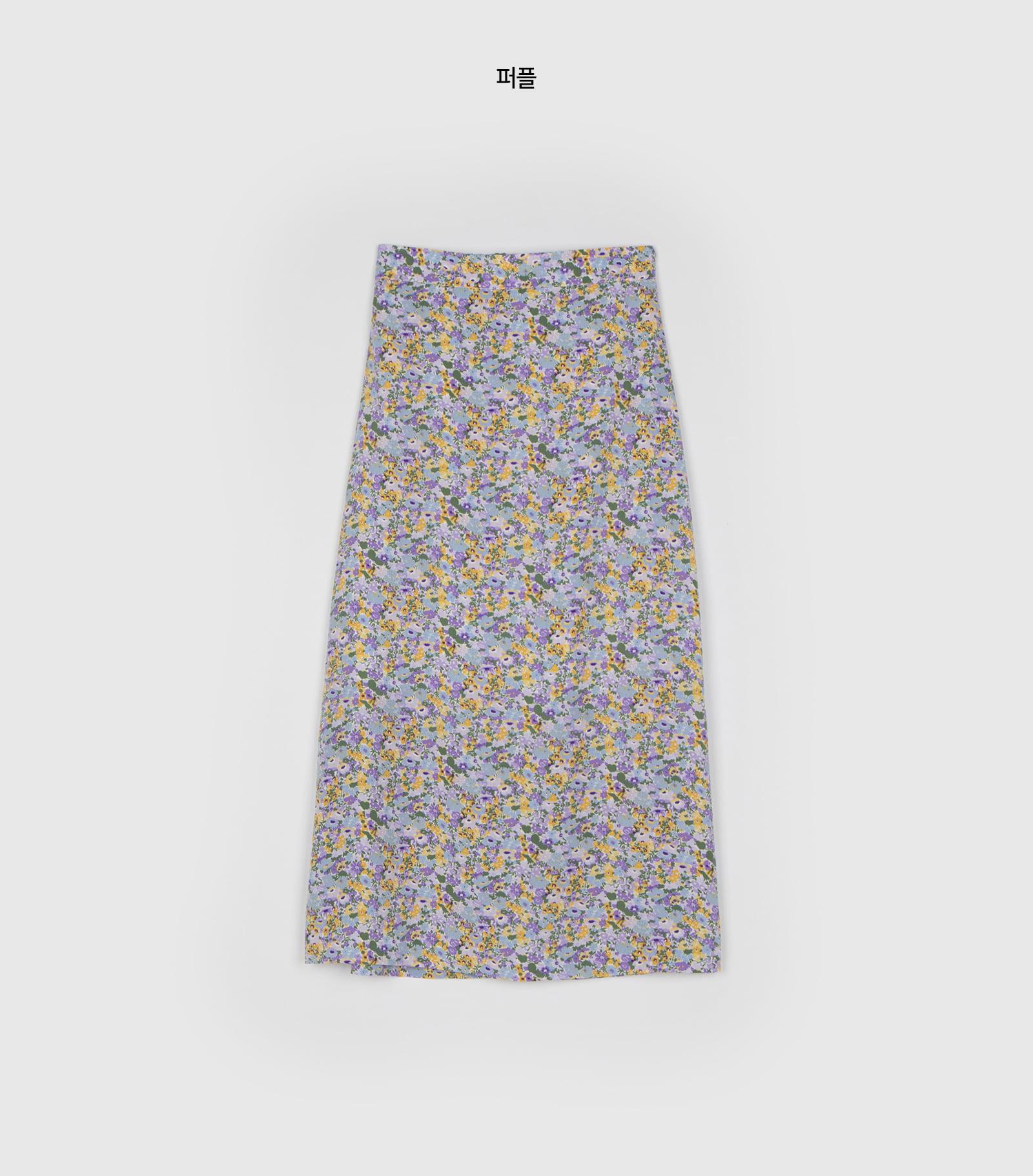 Blossom slit midi skirt