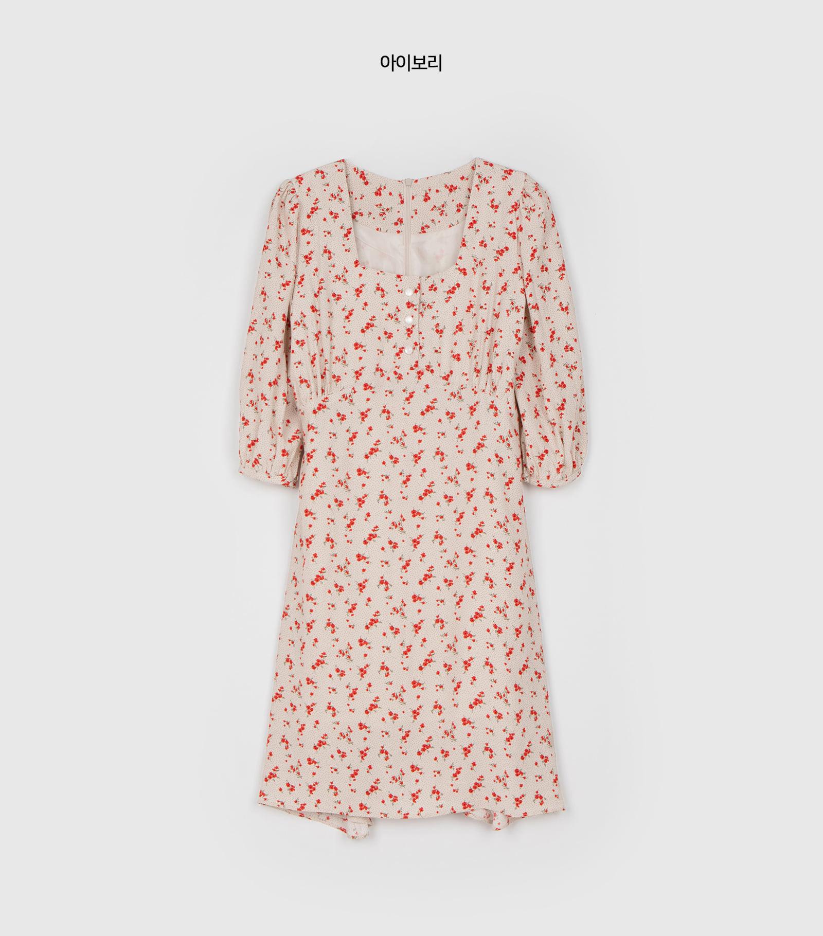 Main button floral midi dress