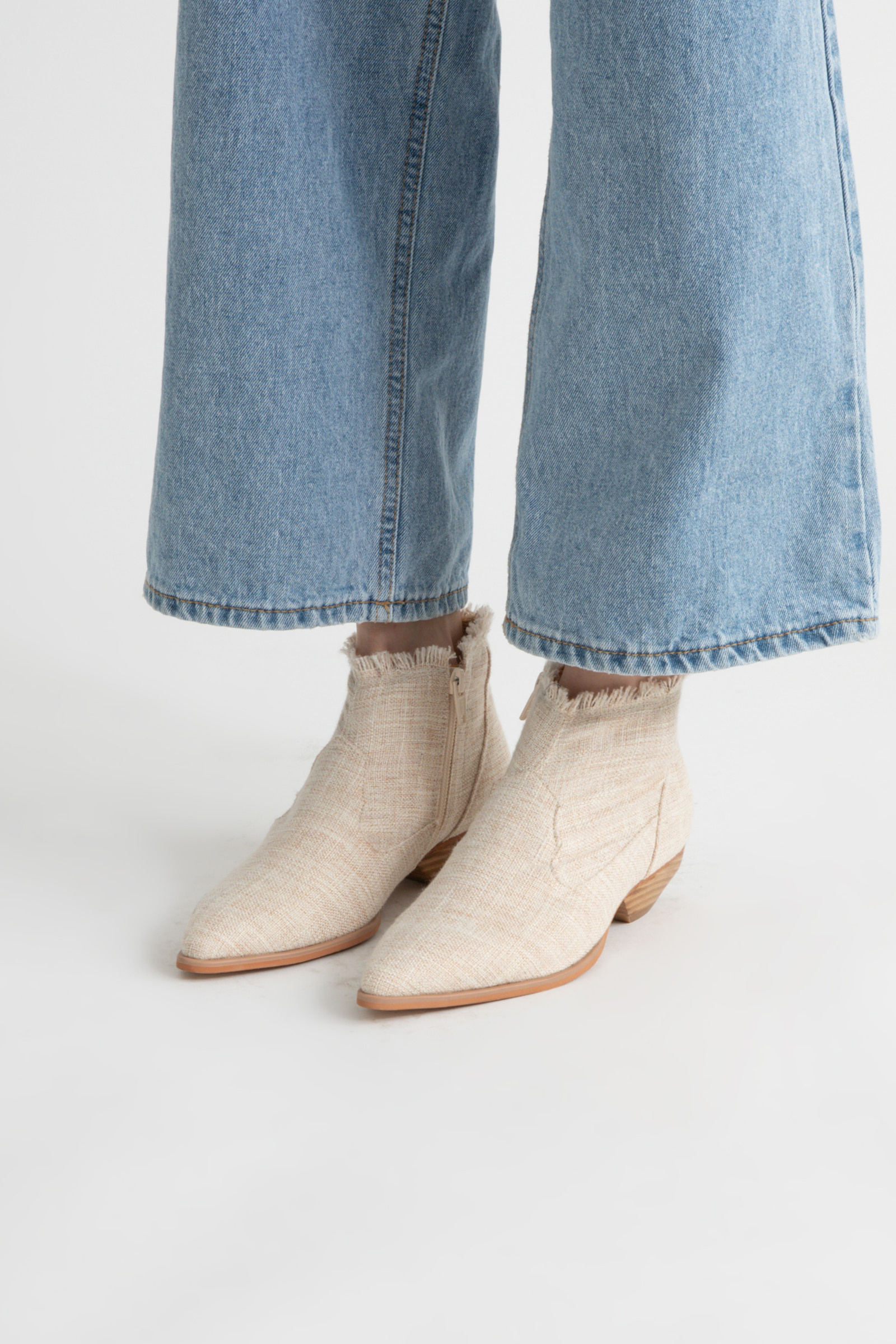 Linen western ankle boots