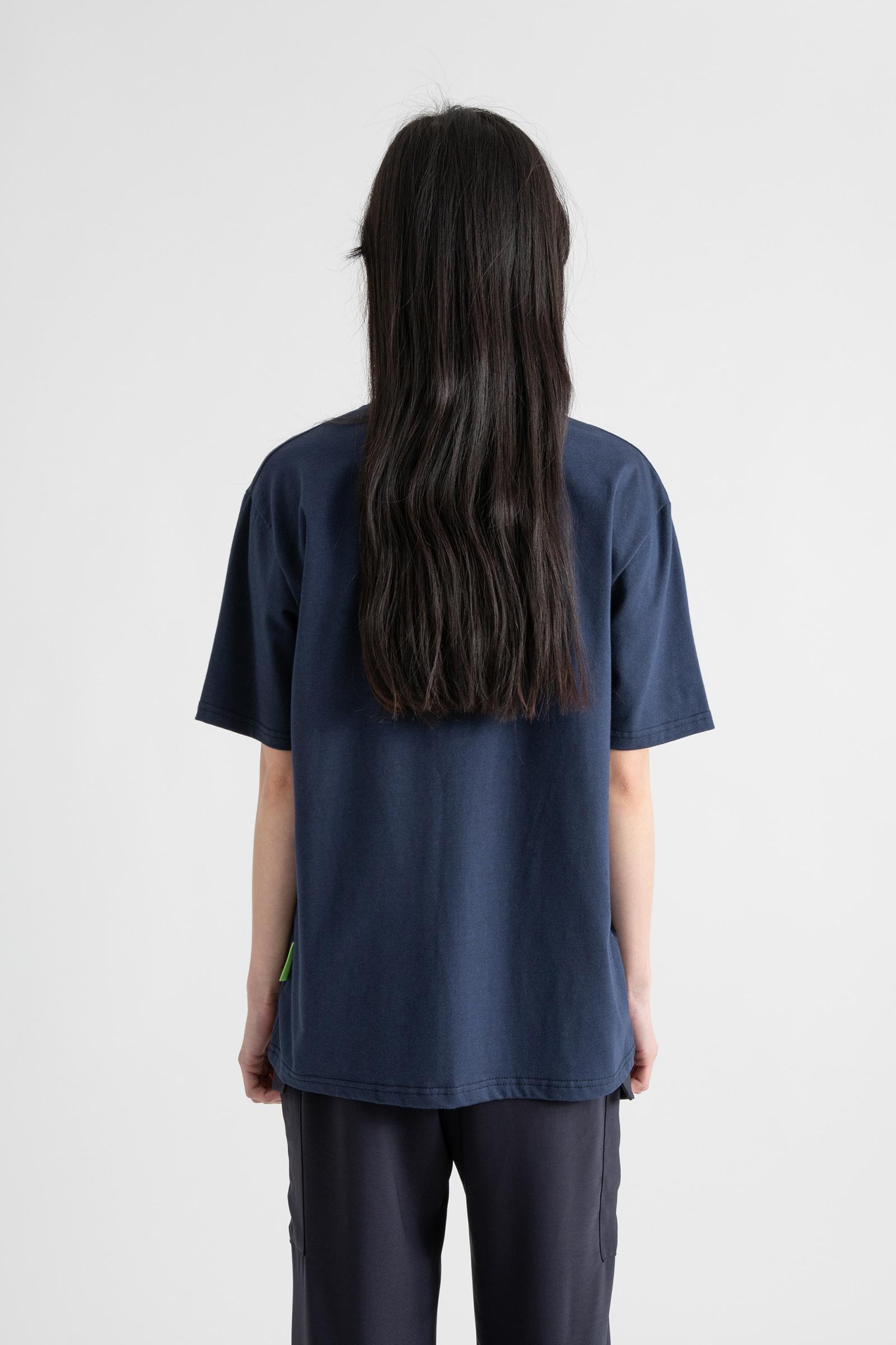 Cover printing modal half round neck T-shirt