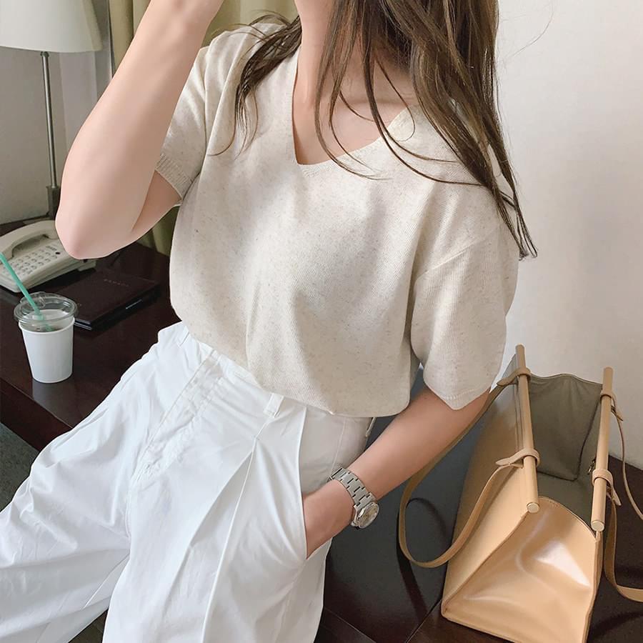 Linen V Neck Knit + Cotton Baggy Pants