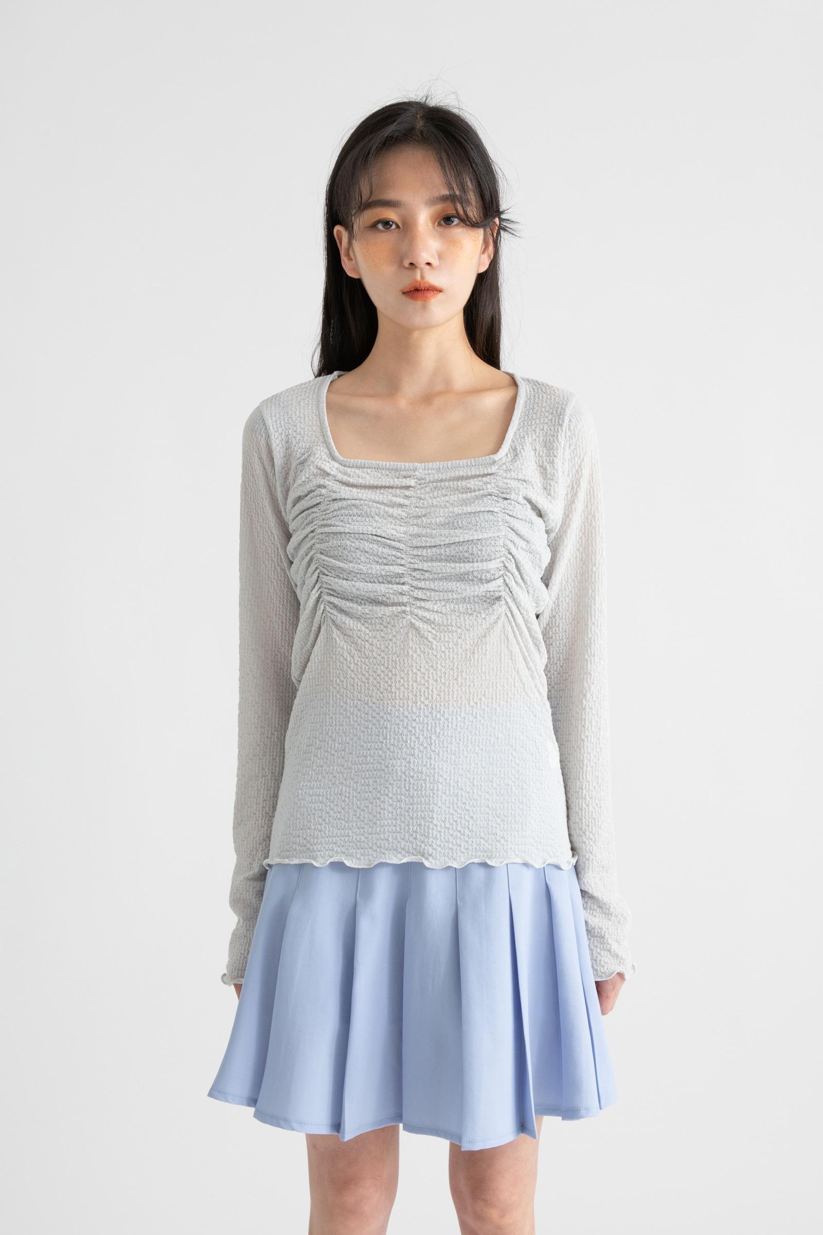 Spring River Shirring Square Neck T-Shirt