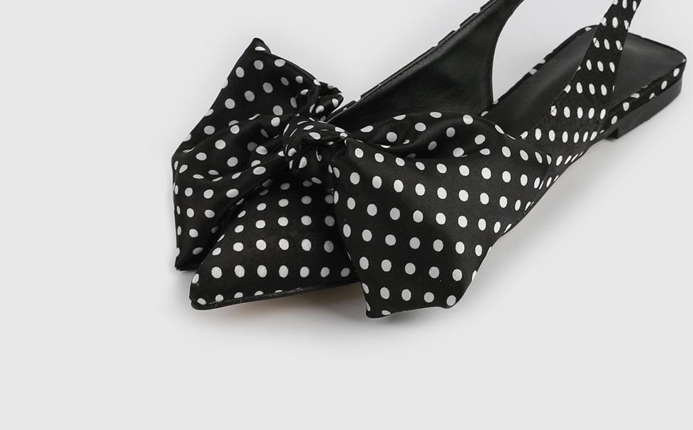 Ribbon dot slingback flat sandals