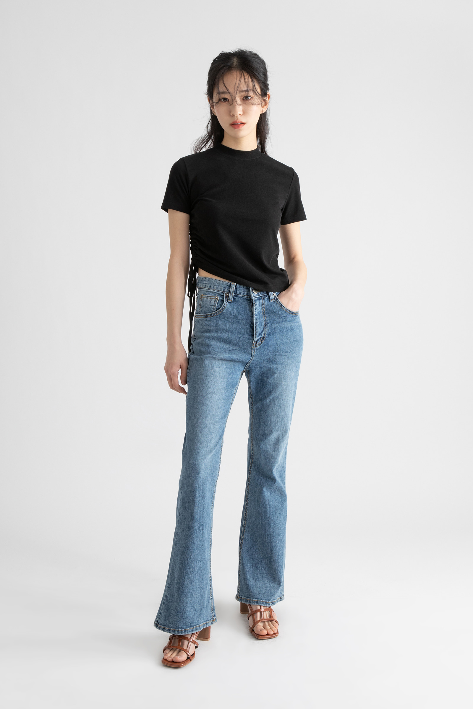 Juli Slim Shirring Crop Half Turtleneck T-Shirt