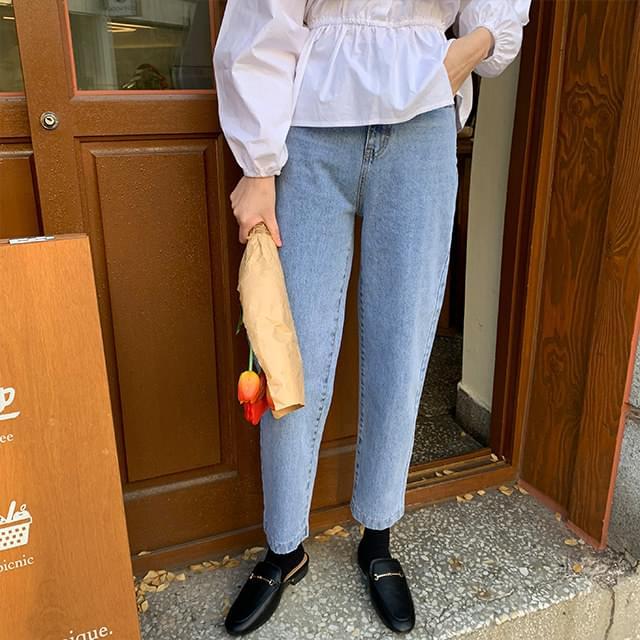 Brick wide denim pants