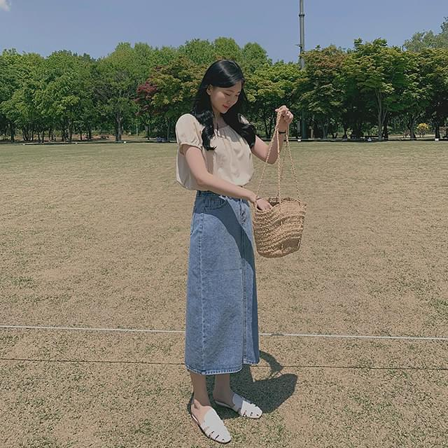 Blue day denim skirt