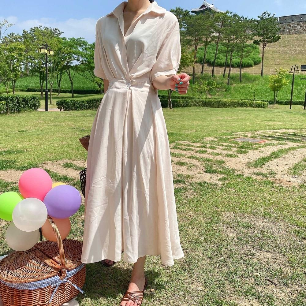 Middle color flare dress