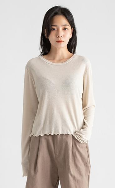 Standard wave linen round neck T-shirt