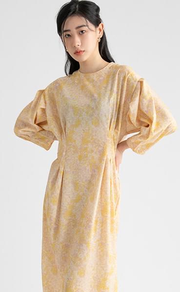 Water pattern puff pin-tuck midi dress