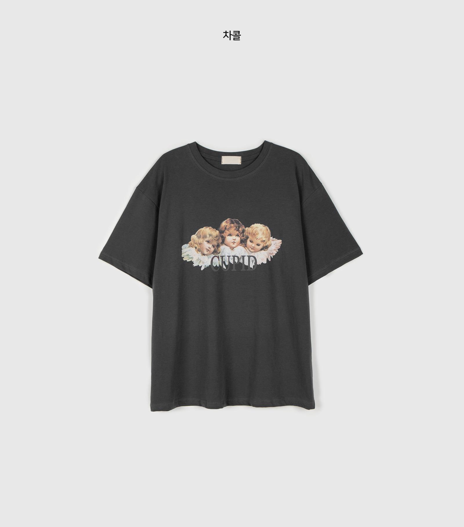Cupid printed half round neck T-shirt