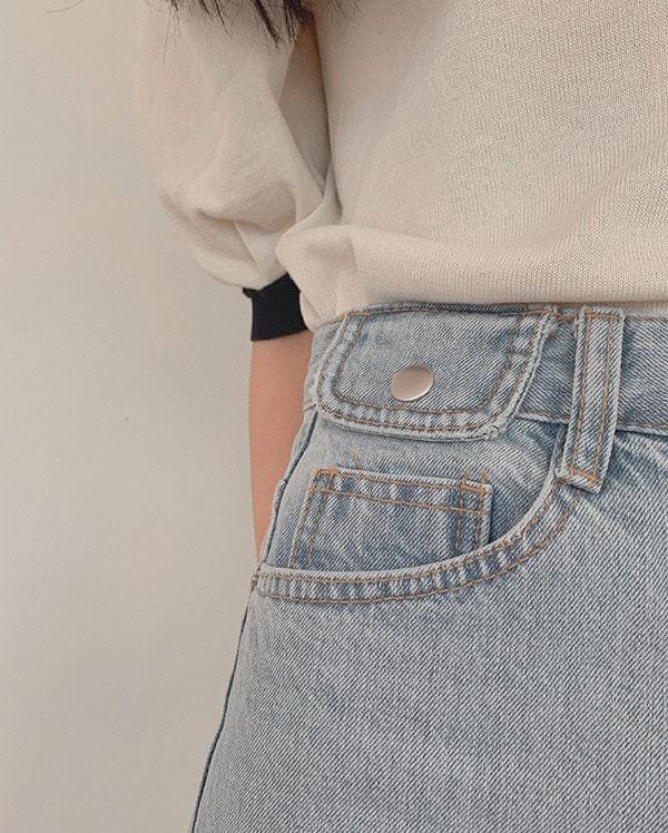 Button wide denim pants