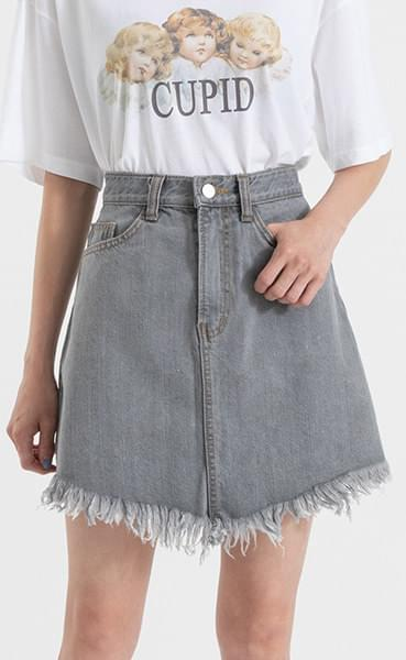 Gray Thistle Denim Mini Skirt