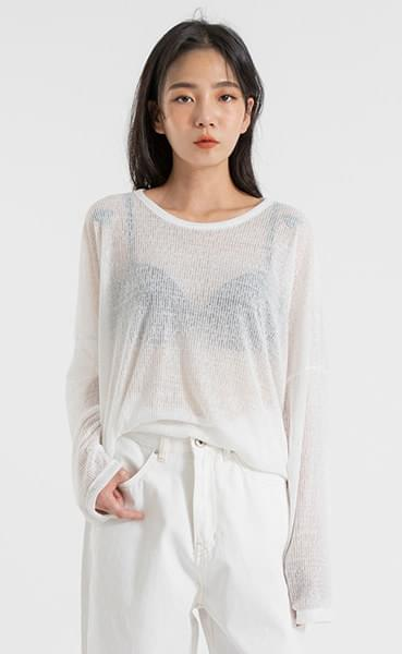 Daily See Through Over Round Neck T-Shirt