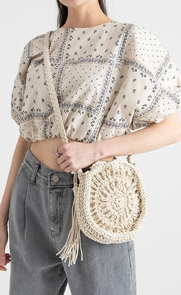 Tribe tassel cotton-cross shoulder bag