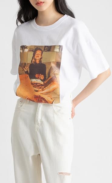 Pizza printing round neck t-shirt