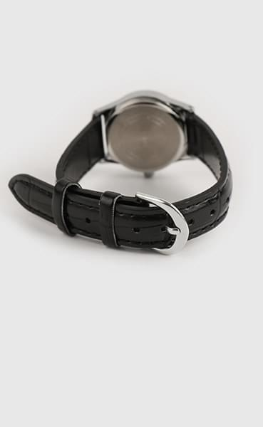 Modern black leather watch (Delayed delivery)