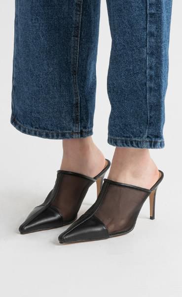 Tem see-through high heel mule