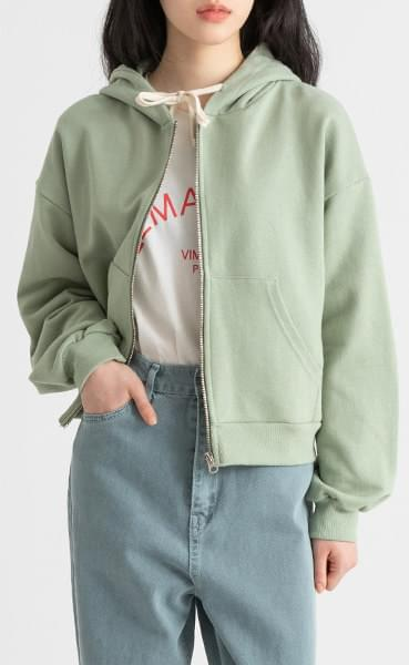 Basic hooded zip-up sweatshirt