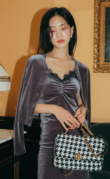 Cardigan set lace velvet mini dress