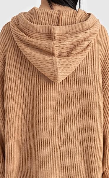 Unisex over hatch hooded knit