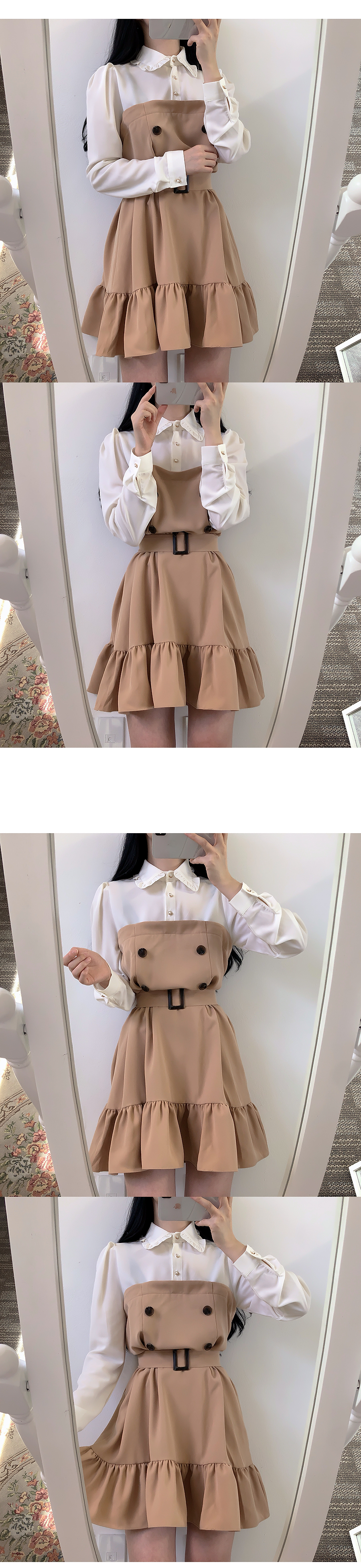 Single production ♥ Belt set Burberry color dress